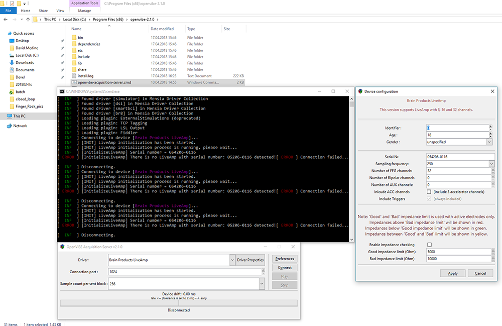 OpenViBE's native MI-CSP demonstration - Fig. 1: A screenshot of the OpenViBE Acquisition Server.